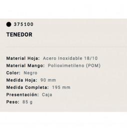 Tenedor Arcos mango negro 9cm